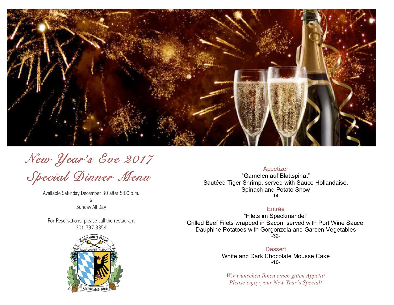 New Years Eve 2017 menu photo
